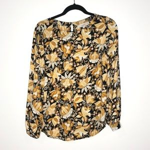 Loft Yellow Floral Pattern Long Sleeve Blouse